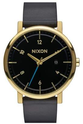 Nixon 'Rollo' Leather Strap Watch, 42mm