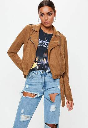 Missguided Tall Tan Cropped Suedette Biker Jacket