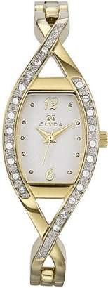 Clyda CLG0093HABW Women's Analog Quartz Watch with White Dial and Golden Stainless Steel Bracelet