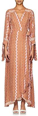 Natalie Martin Women's Danika Zigzag-Print Silk Maxi Wrap Dress - Orange, Pnk