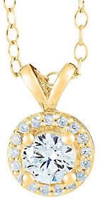 Affinity Diamond Jewelry Round Diamond Halo Pendant, 14K Yellow, 3/4 cttw,by Affinity