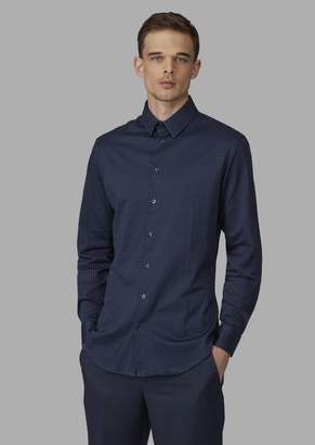 Giorgio Armani Regular-Fit Cotton Shirt With Geometric Pattern