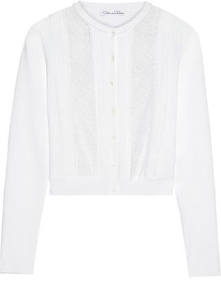 Oscar de la Renta - Lace-paneled Stretch-knit Cardigan - White $1,590 thestylecure.com