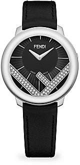 d5a341e27d37 Fendi Run Away Stainless Steel  Diamond Leather-Strap Watch