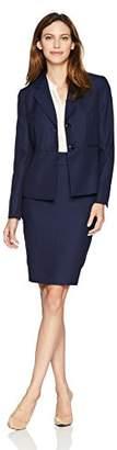Le Suit Women's Textured 2 BTN Notch Collar Skirt Suit