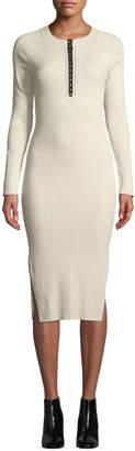 Rag & Bone Brynn Ribbed Long-Sleeve Hook-Front Dress