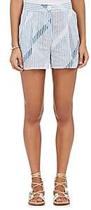 Thierry Colson WOMEN'S STRIPED & CHECKED COTTON VOILE SHORTS - WHITE/CLOUD SIZE M