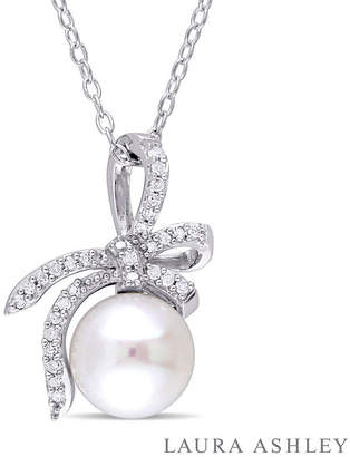 Laura Ashley FINE JEWELRY Laura Asley Womens 1/10 CT. T.W. Cultured Freshwater Pearl Sterling Silver Bow Pendant Necklace