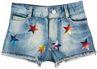 Flowers by Zoe Foil Star Raw-Edge Denim Shorts, Size S-XL