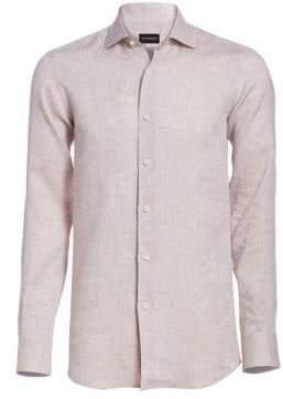 Ermenegildo Zegna Men's Button-Down Shirt - Beige - Size Small