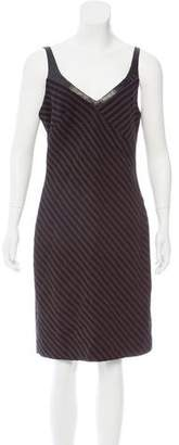Charles Chang-Lima Leather-Trimmed Striped Dress