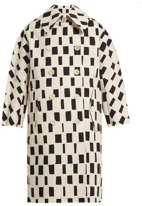 Junya Watanabe Rectangle Print Point Collar Cotton Coat - Womens - White Black