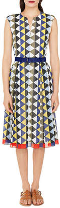Akris Sleeveless Diamond-Stripe Cotton-Voile A-Line Midi Dress
