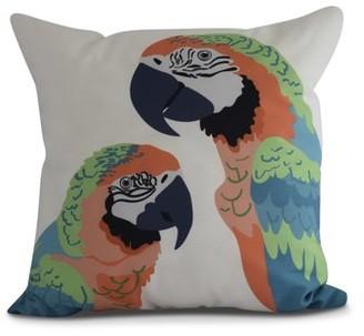 Simply Daisy, 16 x 16Inch, Macaw Close Up, Animal Print Pillow, Orange