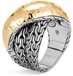 John Hardy Sterling Silver & 18K Bonded Gold Classic Chain Hammered Crossover Ring