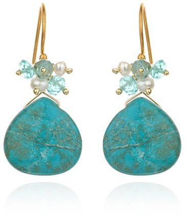 Satya Jewelry Captivation Earrings with Turquoise Drop Multi-Stone accent