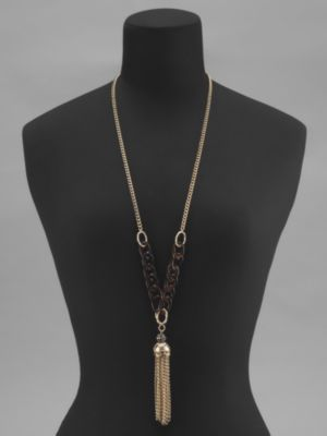 New York & Co. Long Faux Tortoise Tassel Necklace