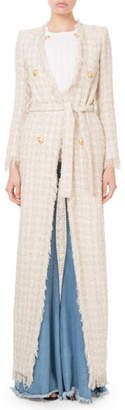 Balmain Fringed Checkered-Tweed Maxi Jacket