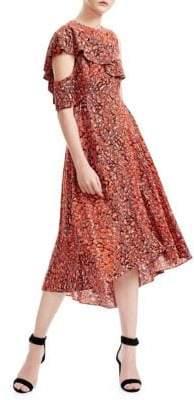 Maje Printed Cold-Shoulder A-Line Dress