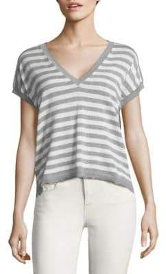 Autumn Cashmere Striped V-Neck Cotton Top