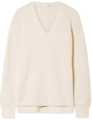 The Row Mirabelle Ribbed Cotton-blend Sweater - Off-white