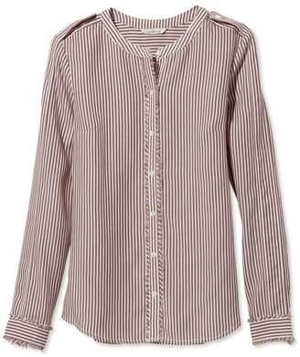 L.L. Bean L.L.Bean Signature Collarless Long-Sleeve Shirt, Stripe