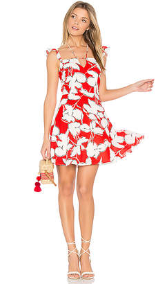 J.O.A. Flower Print Dress With Ruffle Shoulder in Red $90 thestylecure.com