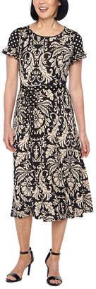 Perceptions Short Sleeve Paisley Fit & Flare Dress