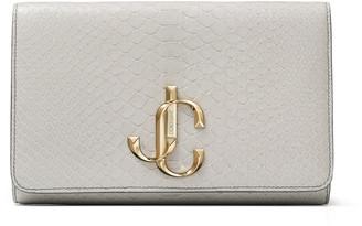 Jimmy Choo VARENNE CLUTCH Porcelain Patent Python Clutch Bag with JC logo