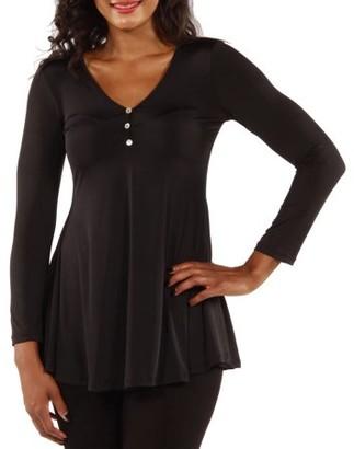24/7 Comfort Apparel Women's Long Sleeve Three Button Henley Tunic Top