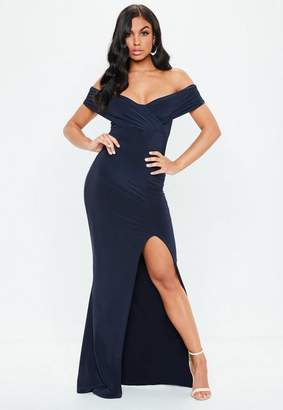 Missguided Navy Bardot Wrap Slit Slinky Maxi Dress