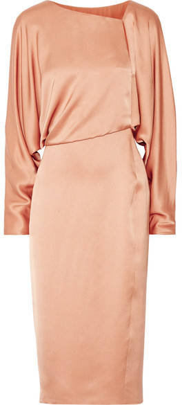 TOM FORD - Draped Cutout Silk-satin Midi Dress - Sand