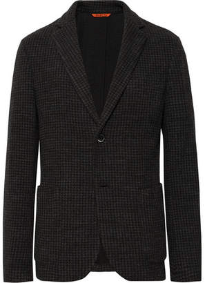 Barena Dark-Grey Unstructured Checked Cotton-Blend Blazer