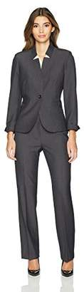 Tahari by Arthur S. Levine Women's Petite Charcoal Grey Pant Suit with Long Sleeve Jacket