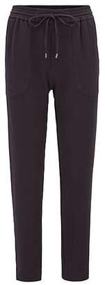 HUGO BOSS Relaxed-fit drawstring trousers in stretch crinkle crepe