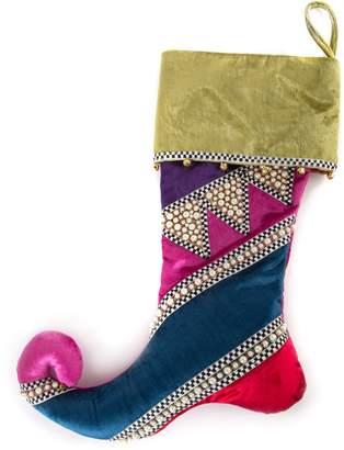 Mackenzie Childs Bijou Stripe Embellished Stocking
