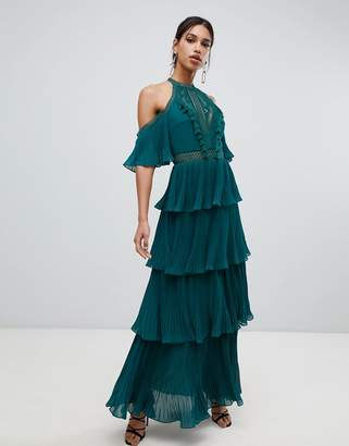 True Decadence cold shoulder tiered maxi dress with tassel detail in forest green