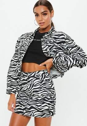 Missguided Zebra Print Denim Skirt Co-Ord