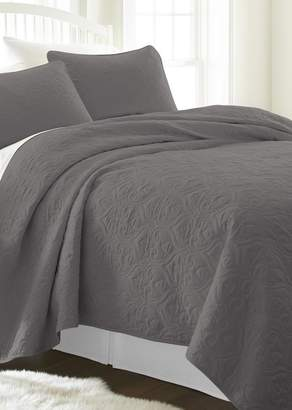 IENJOY HOME Home Spun Premium Ultra Soft Damask Pattern Quilted Queen Coverlet Set - Gray