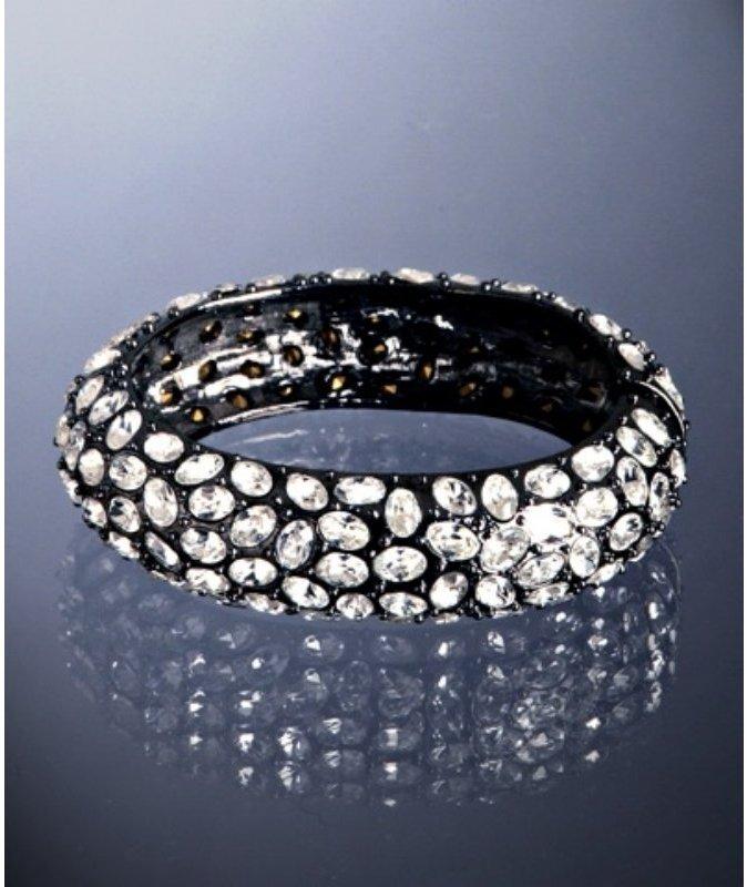 Kenneth Jay Lane gunmetal crystal encrusted hinge bangle