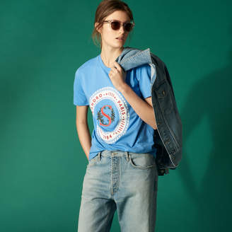 Sandro Cotton T-shirt with circular embroidery