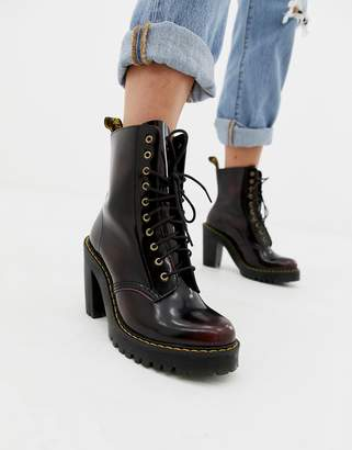 Dr. Martens Kendra Cherry Leather Heeled Ankle Boots