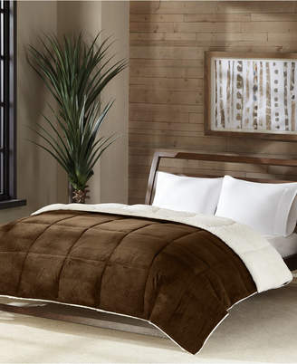 Premier Comfort Reversible Micro Velvet and Sherpa Down Alternative Twin Comforter, Hypoallergenic