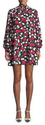 Kate Spade Vintage Fleur Mock-Neck Long-Sleeve Mini Crepe Dress