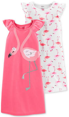 Carter's Little & Big Girls 2-Pack Flamingo Nightgowns