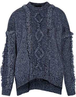 Belstaff Kia Fringed Marled Cable-Knit Wool-Blend Sweater