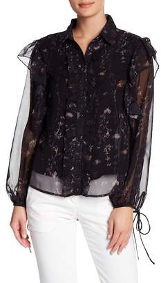 Religion Floral Printed Ruffle Long Sleeve Shirt