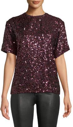Victoria Beckham Victoria Short-Sleeve Jewel-Neck Sequin T-Shirt