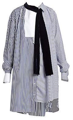 Sacai Women's Pinstripe Mixed Shirting Dress
