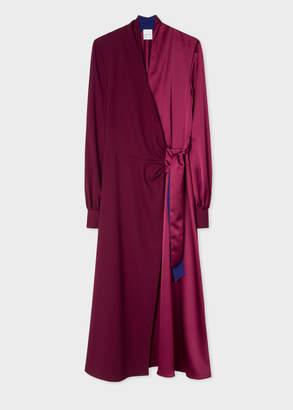 Paul Smith Women's Satin Burgundy Wrap Long-Sleeve Dress